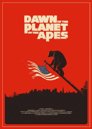 2010's Movie - DAWN OF THE PLANET OF THE APES - RED / canvas print - self adhesive poster - photo